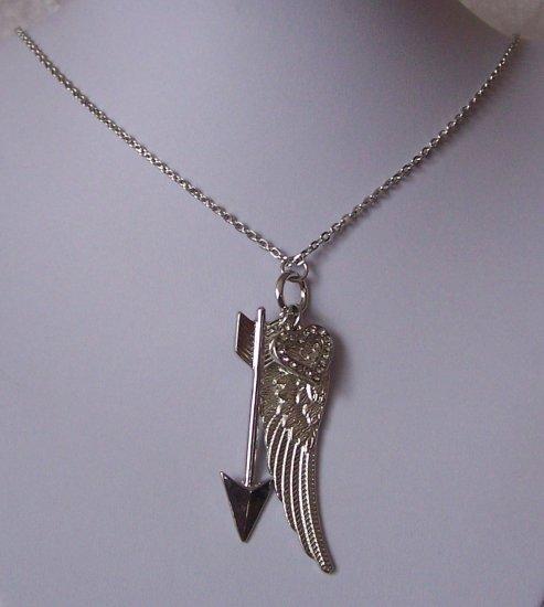 Guardian Angel Wing Wings Heart Love Arrow Necklace