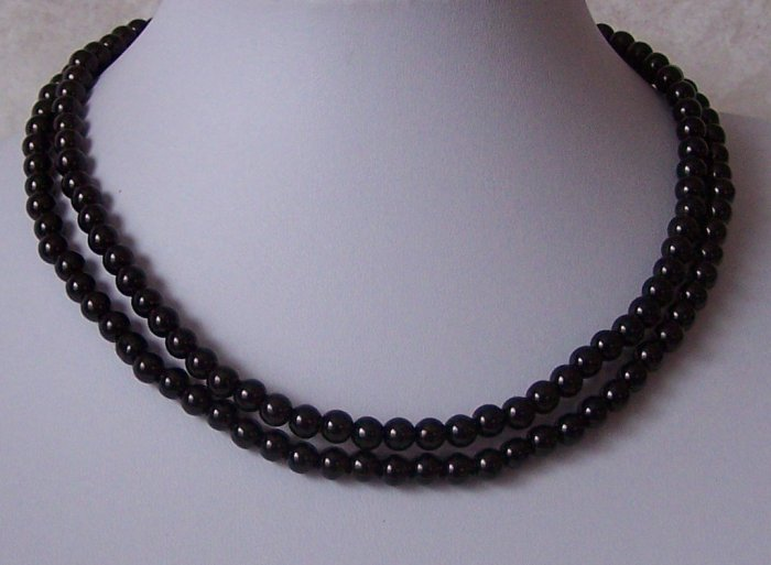 Black Double Strand Faux Pearl Necklace