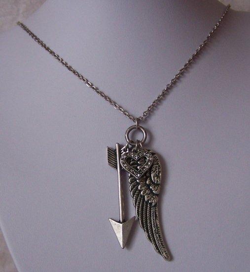 Antique Style Guardian Angel Wing Wings Heart Love Arrow Necklace