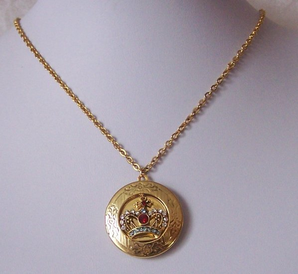 Crown Crystal Locket Necklace