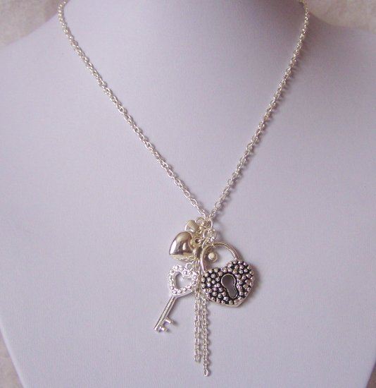 Valetines Day Heart Love Key Multistrand Necklace