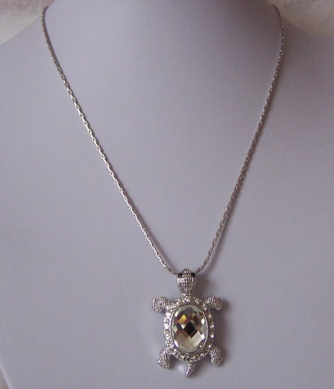 Turtle Tortoise Reptile Animal Lover Crystal Necklace