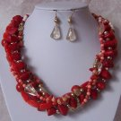 Multi Strand Red Clear White Peach Necklace Set