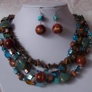 Brown Blue Western Natural Gemstone Turquoise Tigers Eye Necklace Set