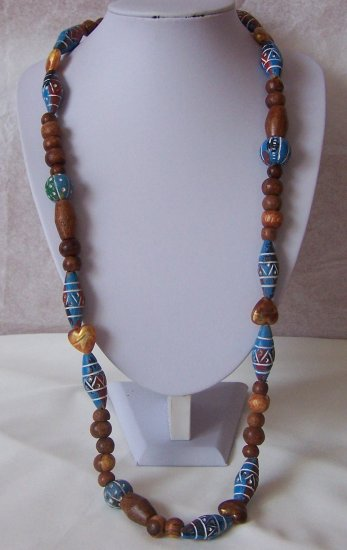 Long Brown Blue White Tribal Wood Boho Necklace