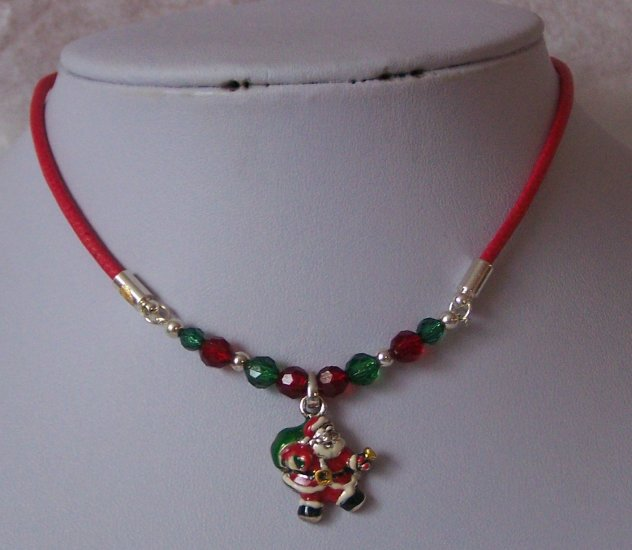 Childrens Kids Red Green Christmas Santa Claus Bracelet Necklace SEt
