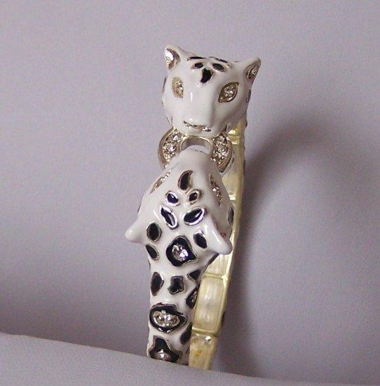 Double Black White Cougar Leopard Cheetah Cat Panther Bangle Bracelet