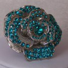 Chunky Blue Turquoise Flower Floral Crystal Cocktail Ring