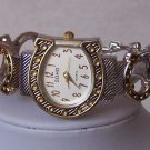 TWO TONE WESTERN COWGIRL HORSESHOE BANGLE BRACELET WATCH