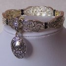 Hope Achieve Marcasite Style Black Charm Bracelet