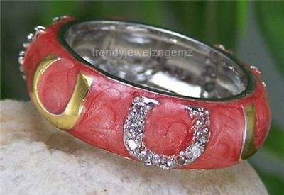 SALMON WESTERN 14KP GOLD HORSESHOE ETERNITY CZ RING SIZE 9