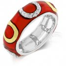 RED WESTERN 14KP GOLD HORSESHOE ETERNITY CZ RING SIZE 6