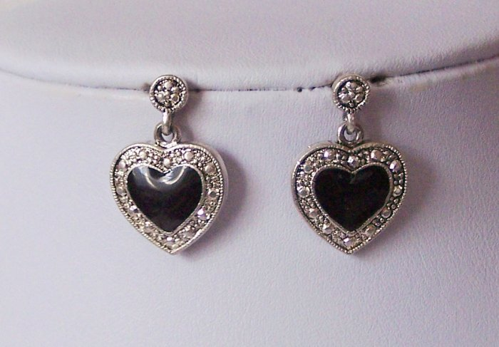 Black Marcasite Style Heart Love Earrings