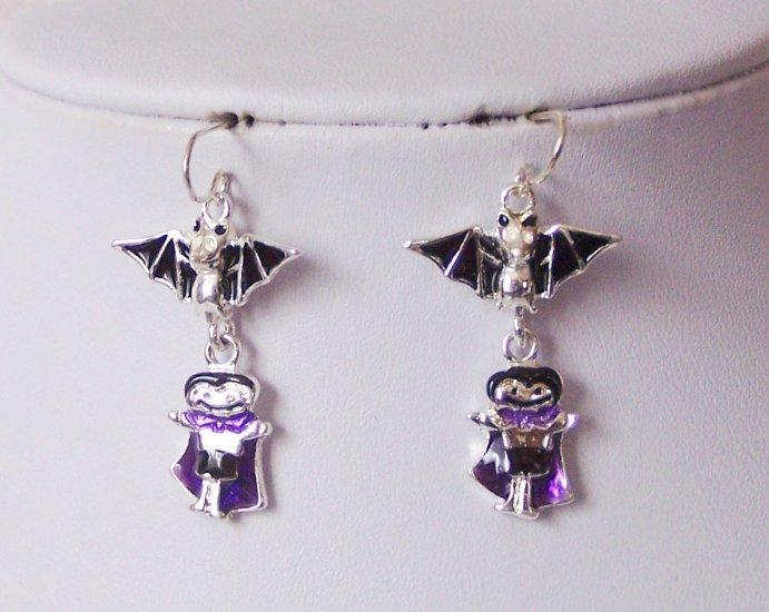 Black Purple Bat Dracula Happy Halloween Earrings