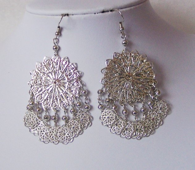 Filigree Silver P Chandelier Earrings