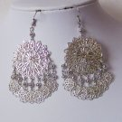 Filigree Silver P Chandelier Earrings