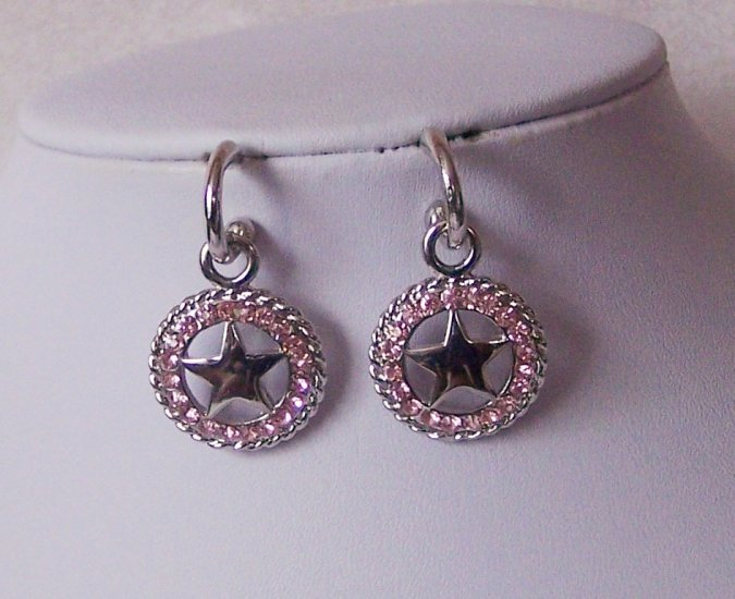 Pink Lone Star Western Rodeo Crystal Rodeo Texas Lonestar Star Earrings