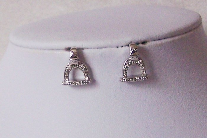 Clear Horseshoe Western Rodeo Crystal Rodeo Texas Earrings