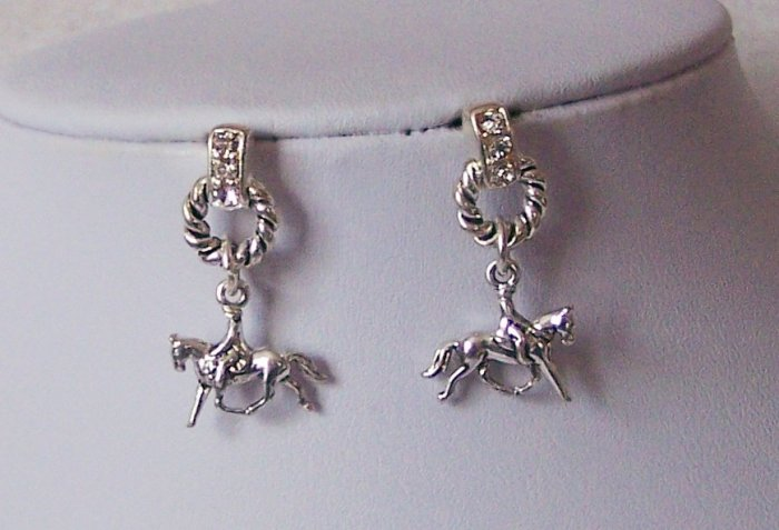 Clear Crystal Western Horse Pony Mustang Circle Rider Earrings