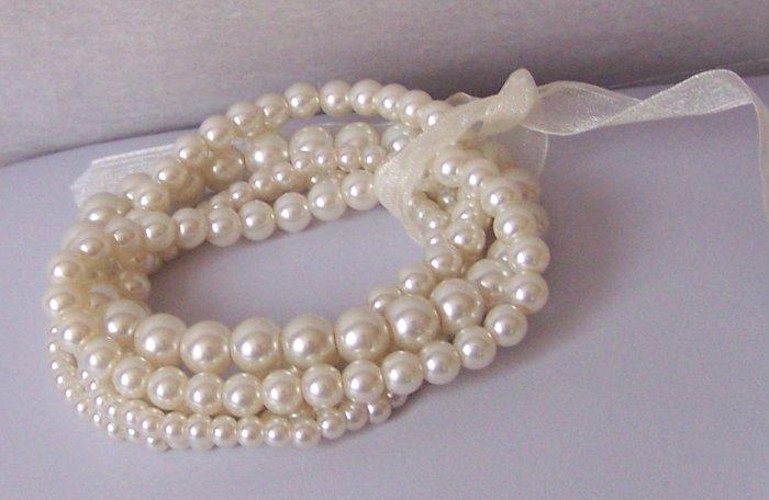 Cream Beige Three Strand Pearl Bracelet