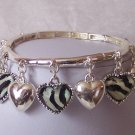 Black White Zebra Animal Print Heart Love Charm Bracelet