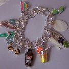 Beach Vacation Tropical Suntan Lotion Cocktail Bikini Charm Bracelet