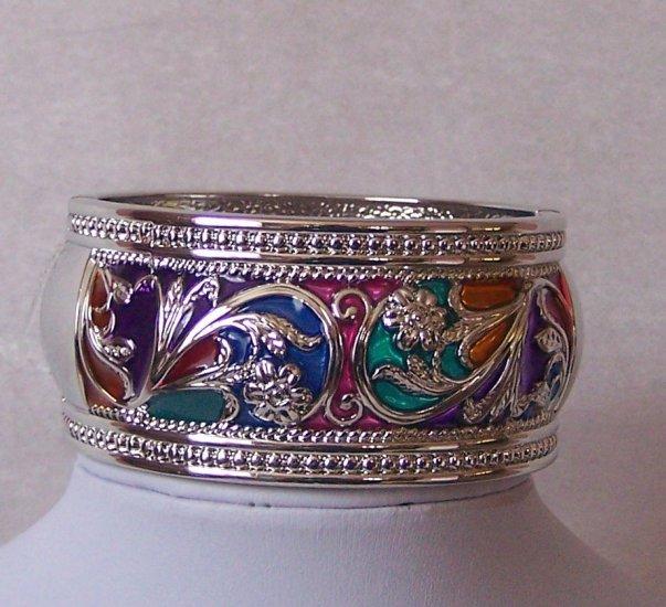 Multicolor Blue Pink Green Hinge Bangle Bracelet