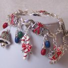 Christmas Santa Claus Candy Cane Reindeer Charm Bracelet