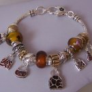Brown Animal Print Handbag Purse Murano Glass Charm Bracelet