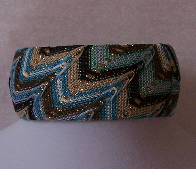 Brown White Tan Blue Turquoise Fabric Bangle Bracelet