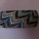 Brown White Tan Blue Turquoise Fabric Bangle Bracelet