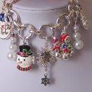 Chunky Christmas Snowflake Snow Flake Crystal Charm Bracelet