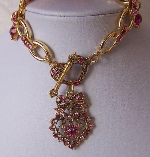 Pink Heart Love Valentines Day Crystal Bracelet