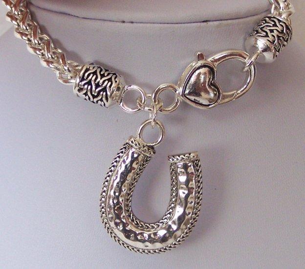 Western Cowgirl Horseshoe Horse Shoe Hammered Charm Bracelet