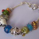 Animal Zoo Panda Monkey Giraffe Glass Elephant Alligator Crocodile Charm Bracelet