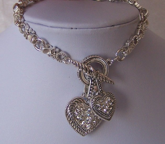 Crystal Heart Love Valentines Day Charm Bracelet