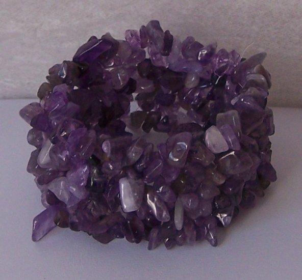 Purple Amethyst Turquoise Western Natural Stone Wide Bracelet