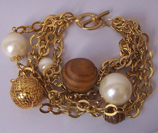 Brown Faux Pearl Wood Multistrand Bracelet