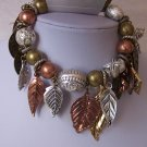 Fall Harvest Metal Leaves Leaf Tri Tone Charm Bracelet