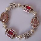 Silver Plated Red Rhinestone Bracelet