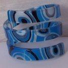 Blue Gray Grey Black Wide Spiral Bangle Bracelet