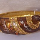 Brown Crystal Marble Style Metal Hinge Bangle Bracelet