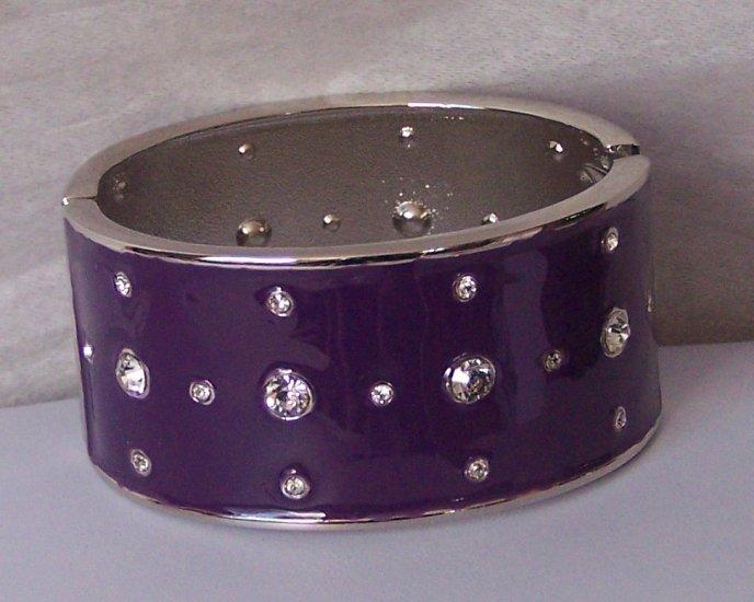 Purple Clear Crystal Wide Metal Hinge Bangle Bracelet