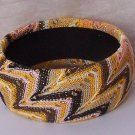 Brown White Tan Orange Fabric Bangle Bracelet