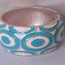 Teal Blue Turquoise White Circle Metal Hinge Bangle Bracelet