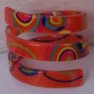 Orange Red Blue Green Yellow Multicolor Wide Spiral Bangle Bracelet