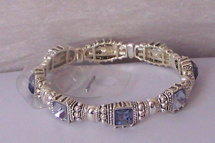 Blue Rhinestone Crystal Bangle Bracelet