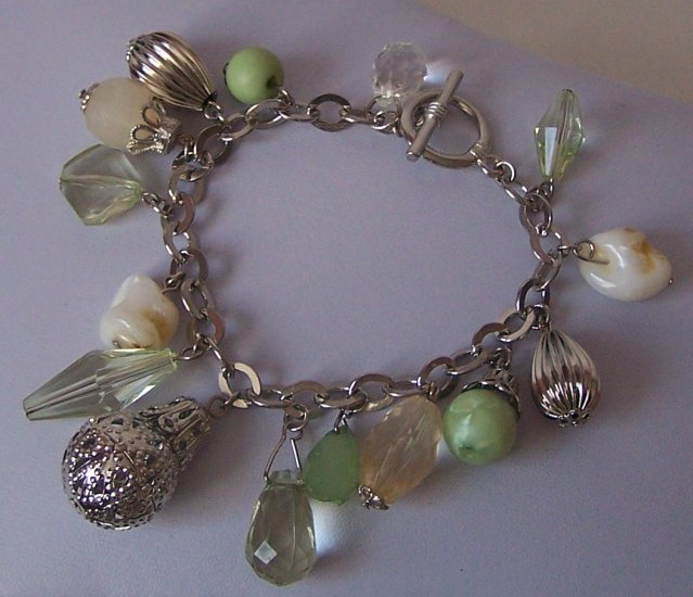 Off White Beige Green Charm Silver Tone Bracelet
