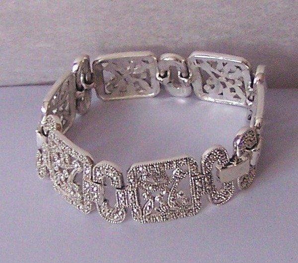 Filigree Silver Tone Link Antique Style Marcasite Look Wide Bangle Bracelet