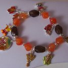 Brown Orange Fall Harvest Leaves Leaf Corn Thanksgiving Charm Bracelet